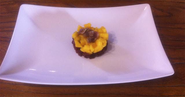 Tartar de remolacha asada y mango