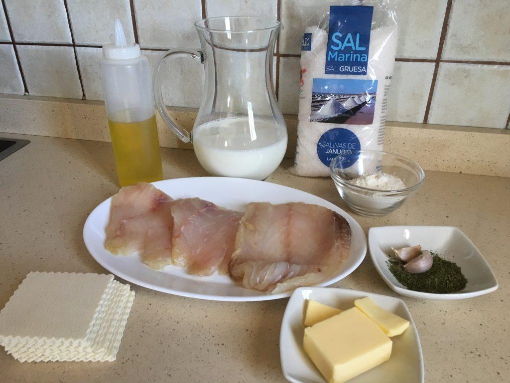 Ingredientes para canelones de sama