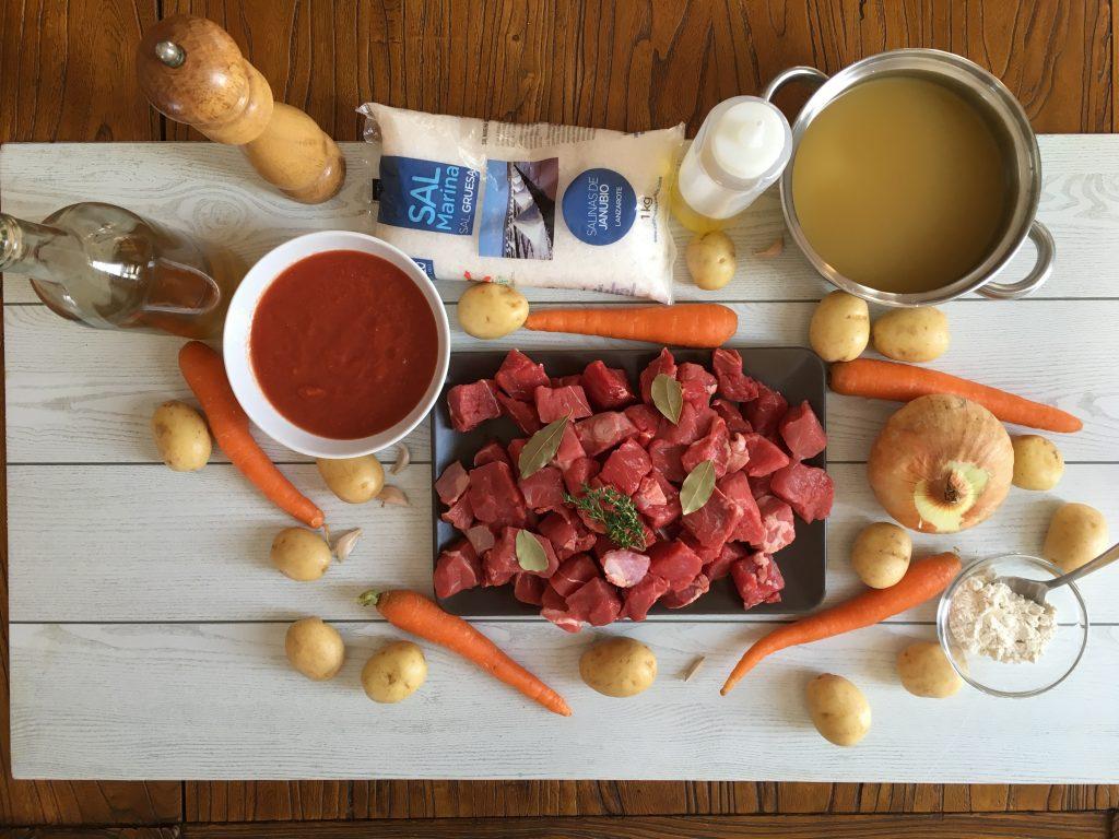 Ingredientes del Estofado de ternera con zanahorias