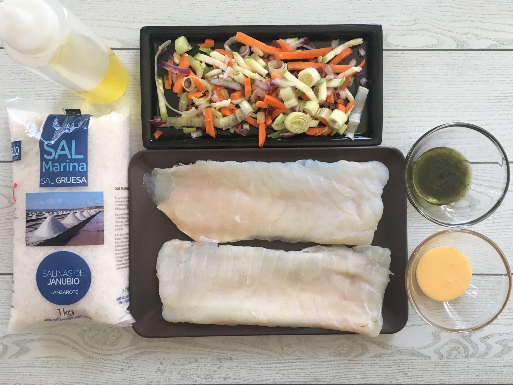 Ingredientes de Bacalao gratinado con verduritas salteadas y mojo de cilantro