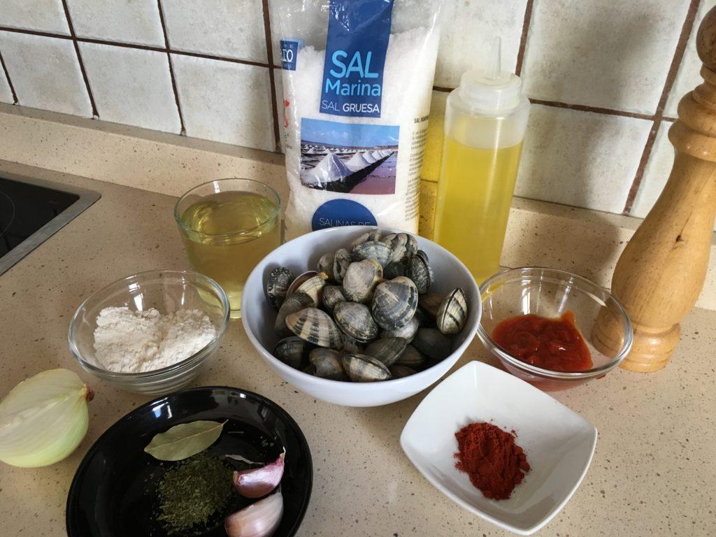 Ingredientes para Almejas a la marinera