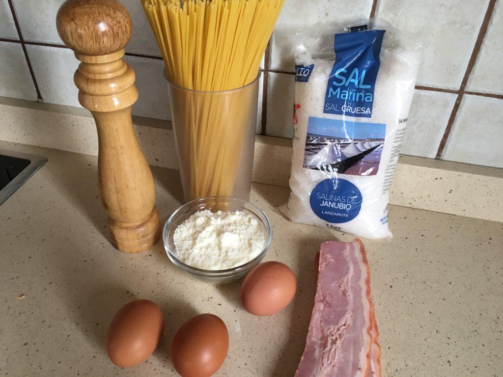 Ingredientes para Espaguetis a la carbonara
