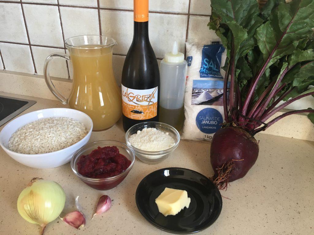 Ingredientes para Risotto de remolacha con chuletitas de cordero