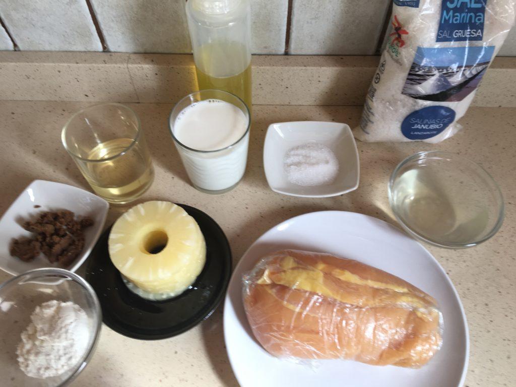Ingredientes para Pechuga de pollo con piña