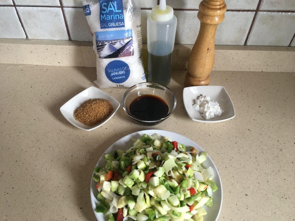 Ingredientes para Verduras salteadas con soja