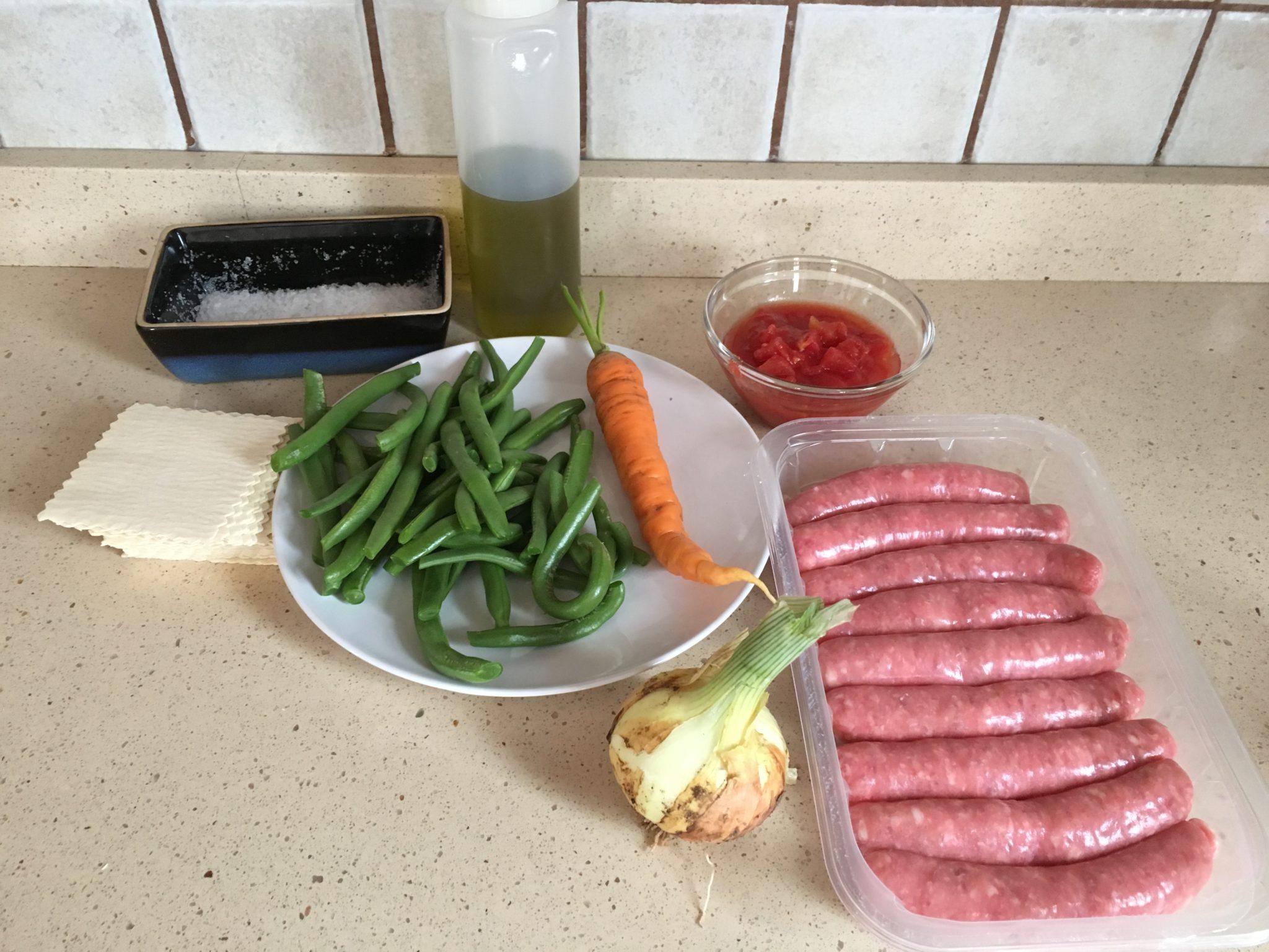 Ingredientes para Canelones de salchichas y verduras