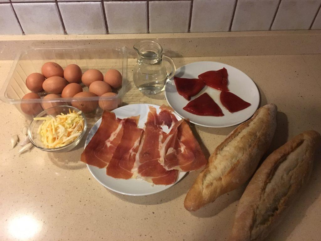 Ingredientes para Huevos al gratén