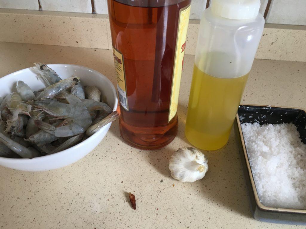 Ingredientes para Langostinos al ajillo