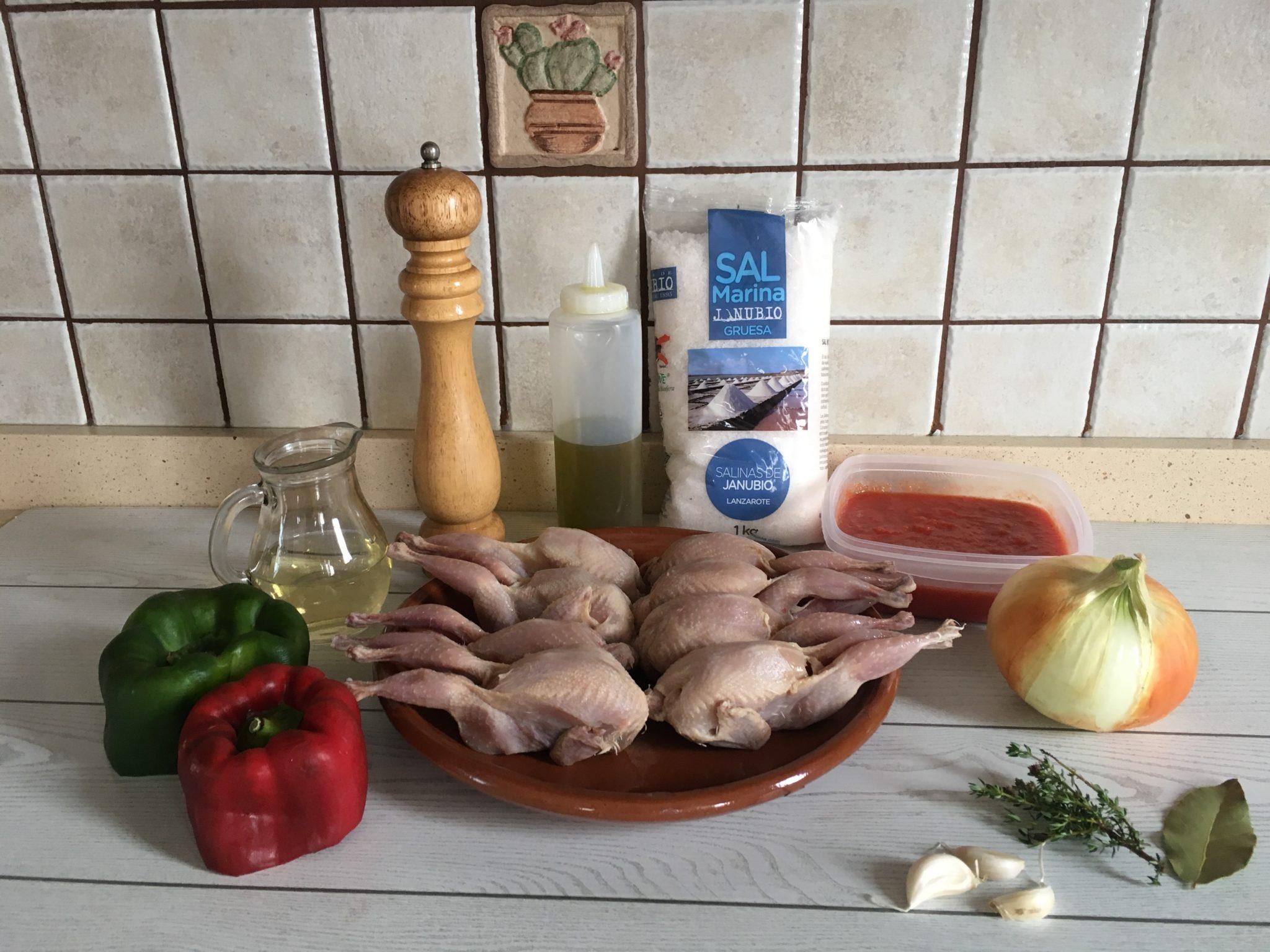 Ingredientes para Codornices guisadas
