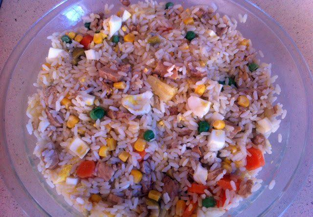 Ensalada de arroz con pechuga de pollo