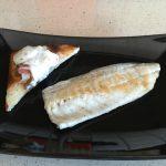 Filetes de pescado con tostas de setas y panceta