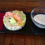 Ensalada de arroz con melón y gambas