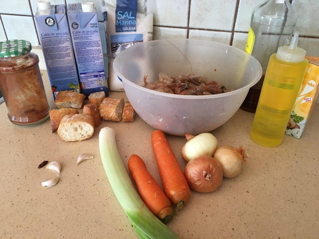 Ingredientes para Bisque de langostinos