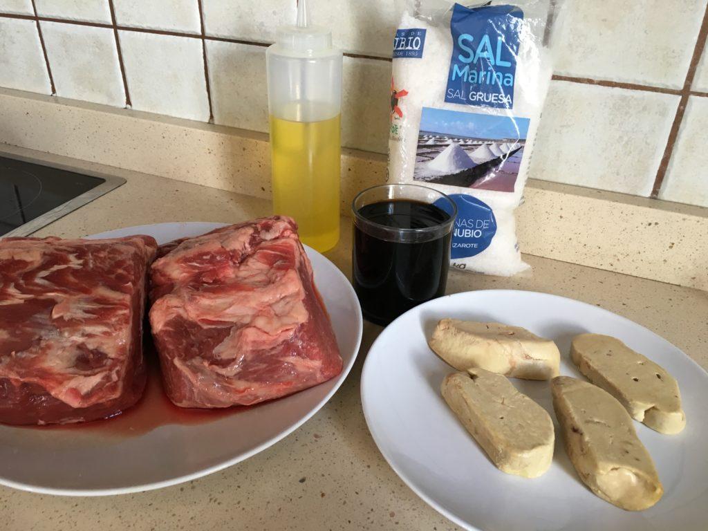Ingredientes para Lomo de ternera con foie y reducción de Pedro Ximénez