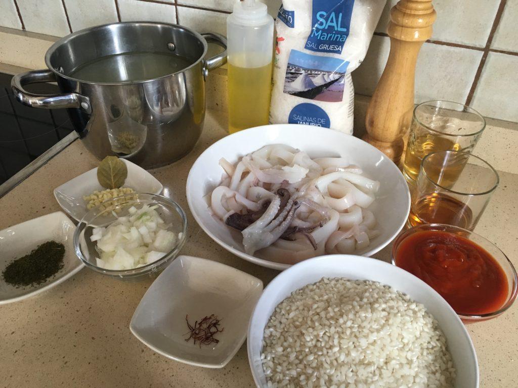 Ingredientes para Arroz caldoso de calamares