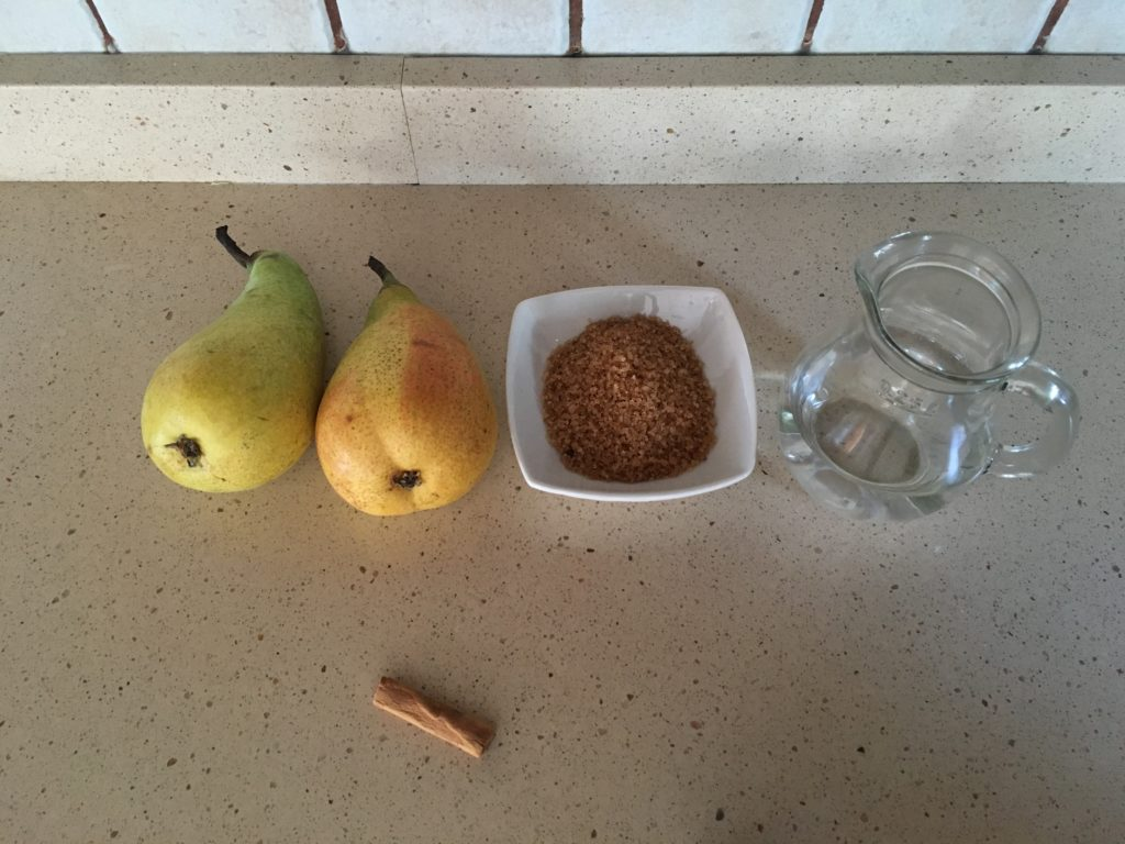 Ingredientes para Crepes con compota de pera