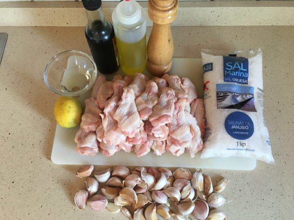 Ingredientes para Alitas de pollo a los cien ajos