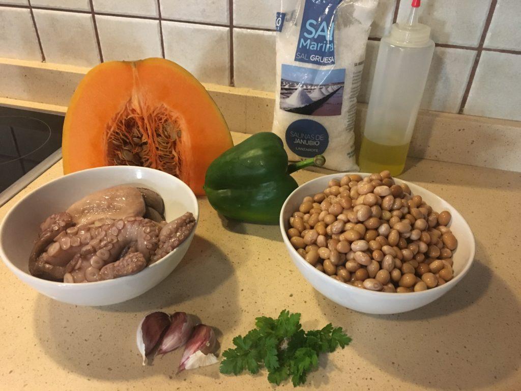 Ingredientes para Judías con pulpo