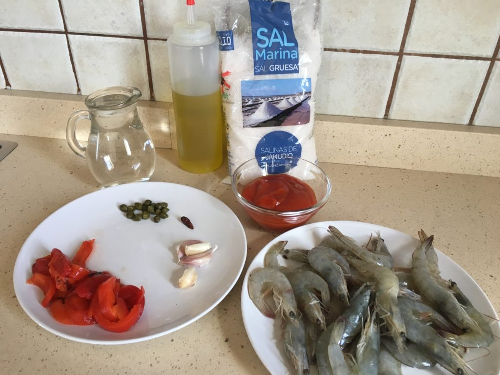 Ingredientes para Langostinos en salsa Rigamonti