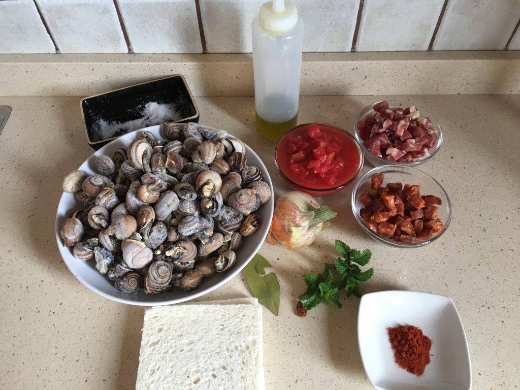 Ingredientes para Caracoles a la madrileña