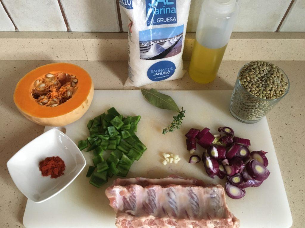 Ingredientes para Lentejas con costillas