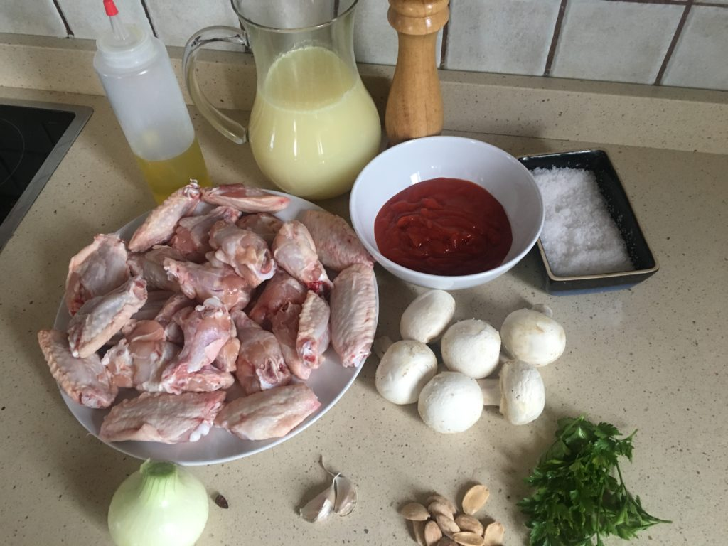 Ingredientes para Alitas de pollo con salsa de champiñones