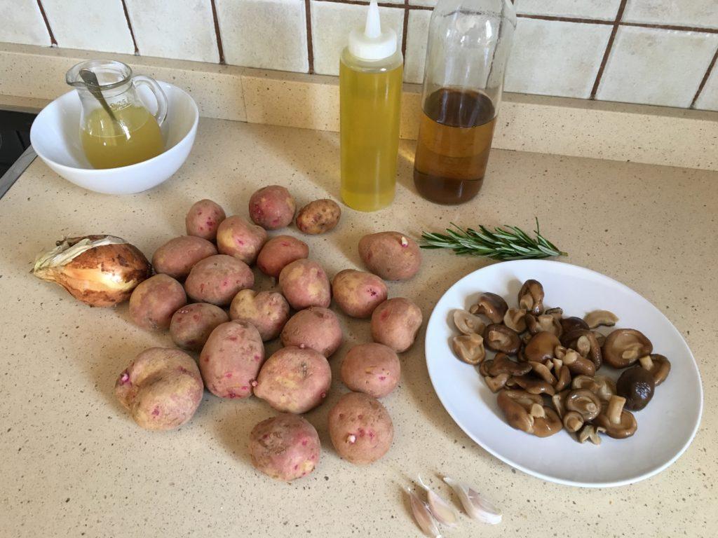 Ingredientes para Papas con setas shiitake