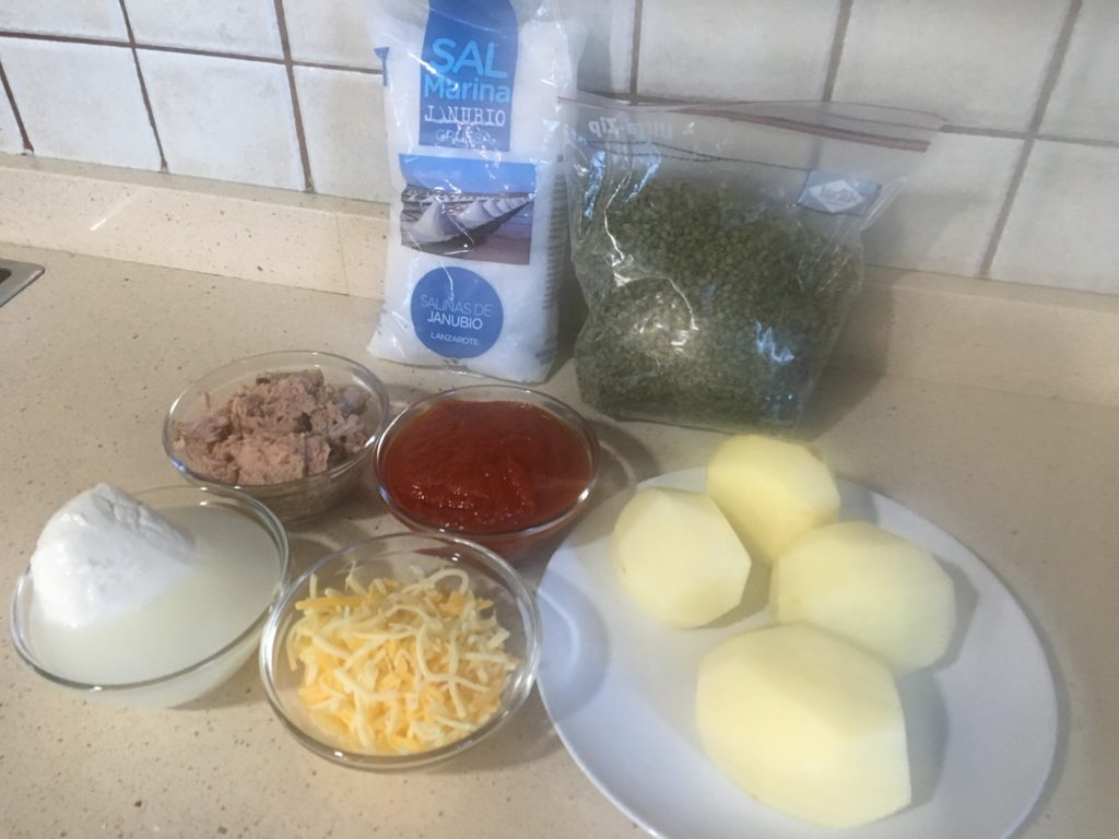 Ingredientes para Papa Pizza doble de atún
