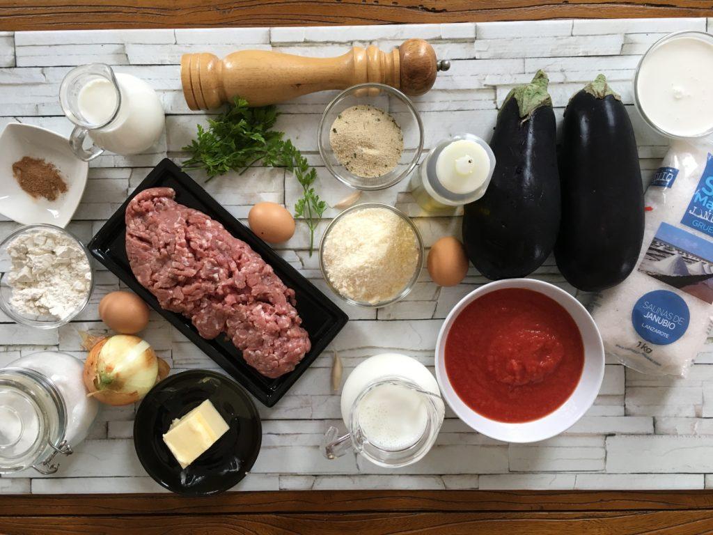 Ingredientes para Moussaka al estilo de Vefa Alexiadou