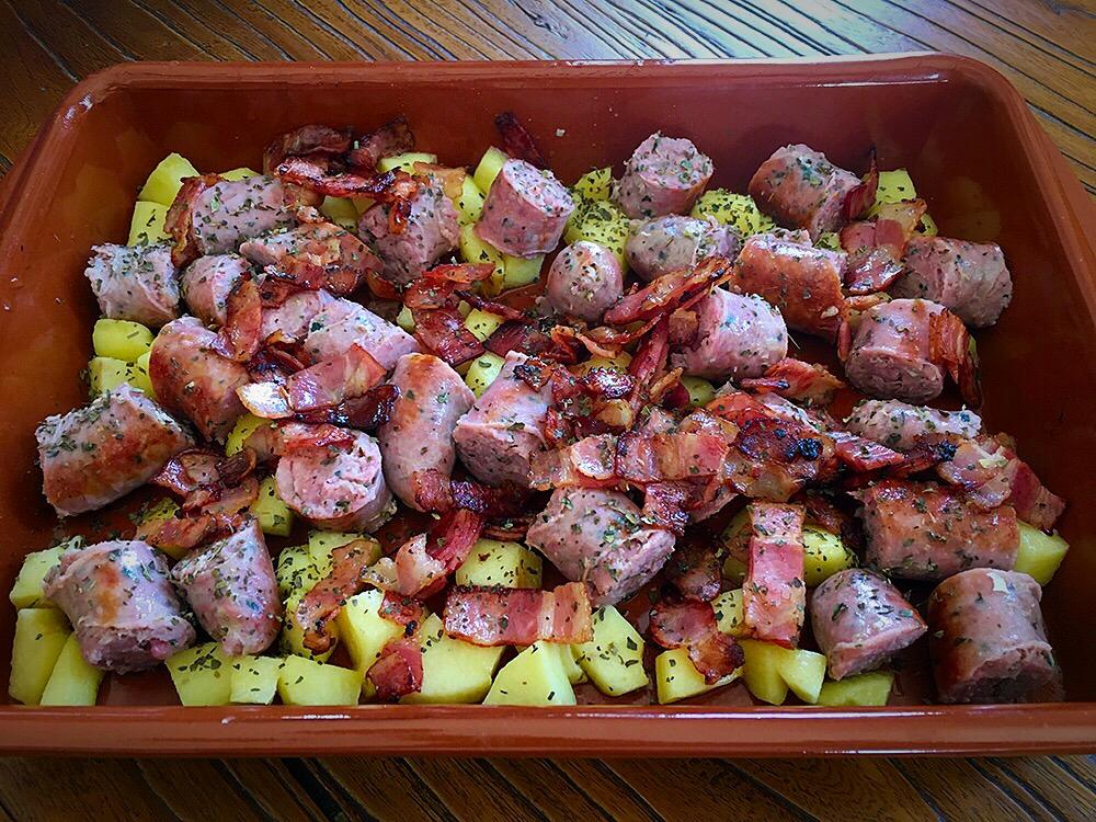 Butifarra con manzana y bacon