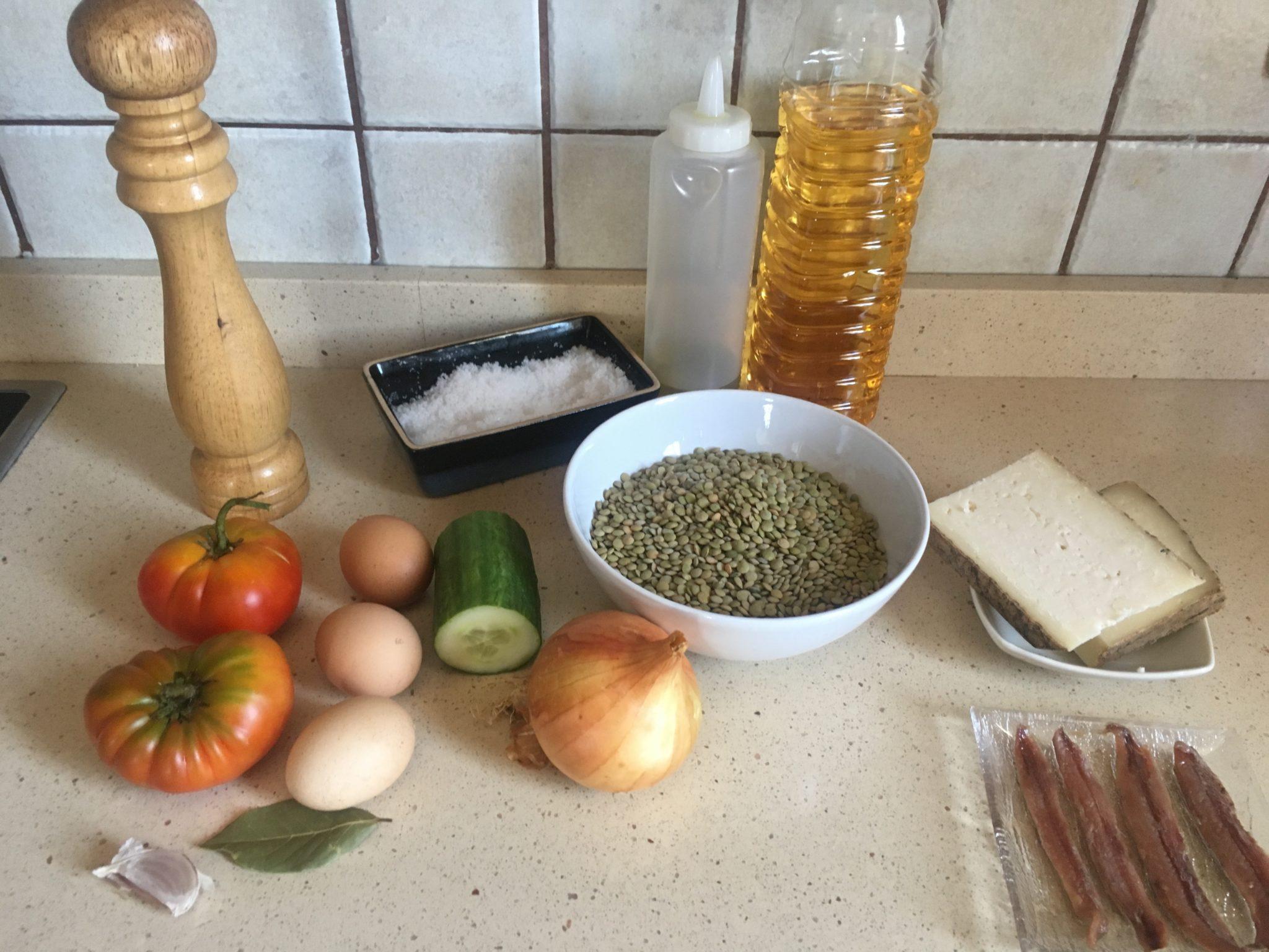Ingredientes para Ensalada de lentejas fritas