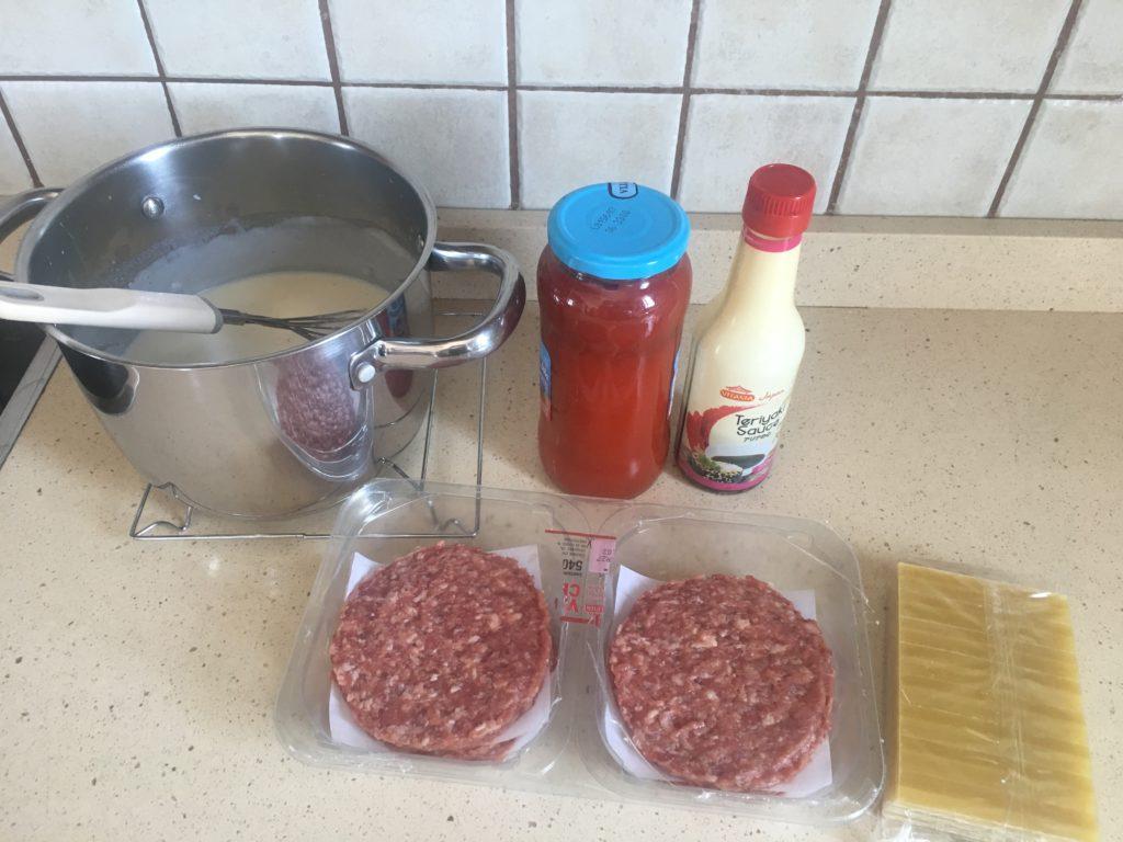 Ingredientes para Lasaña de hamburguesas
