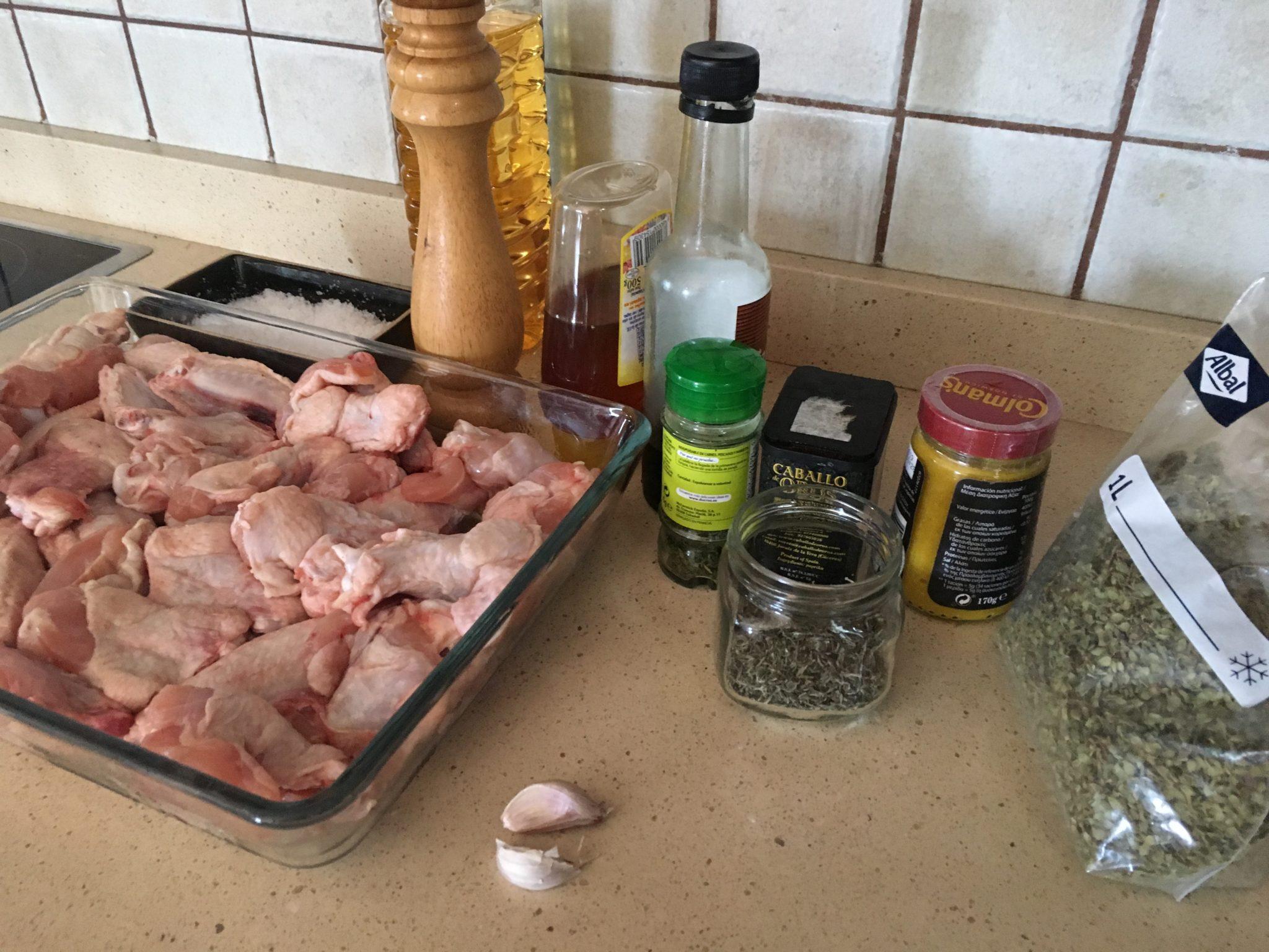 Ingredientes para Alitas de pollo especiadas y en salsa