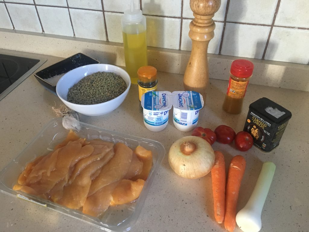 Ingredientes para Lentejas con pollo al curry