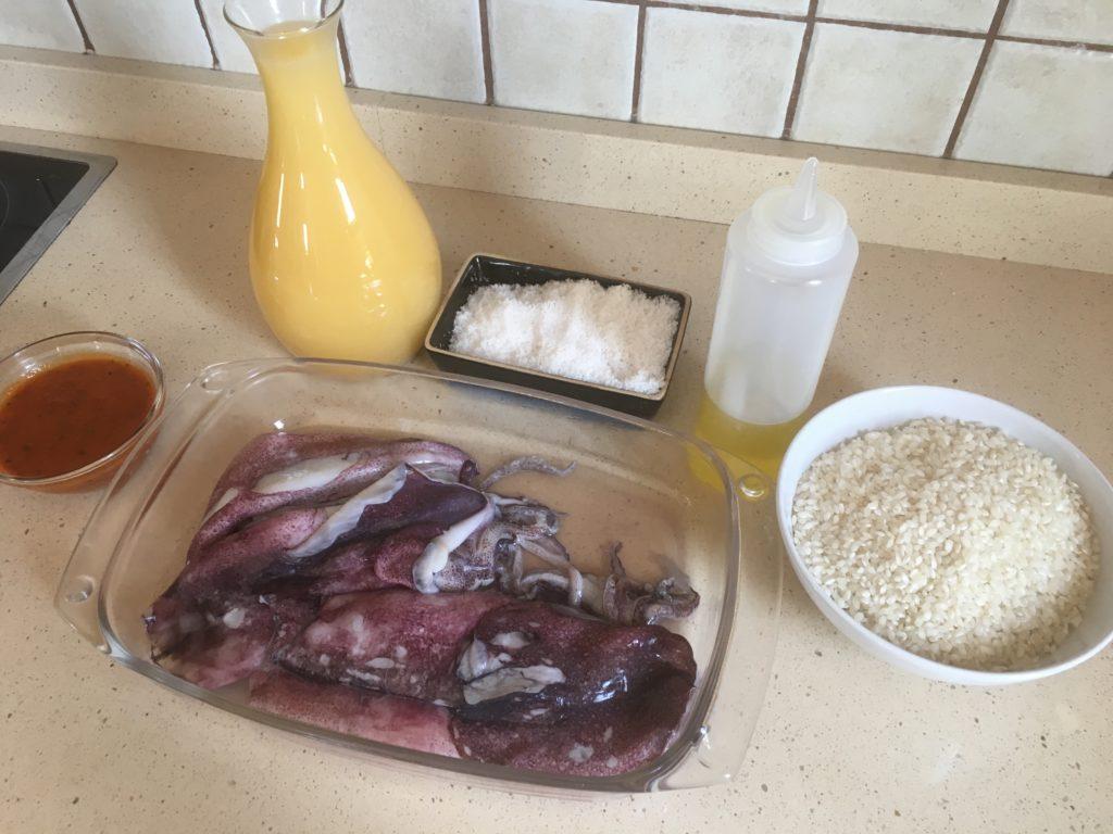 Ingredientes para Arroz de calamares (con Salmorreta)