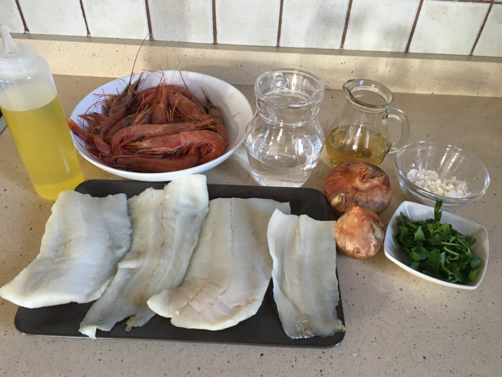Ingredientes para Bacalao en salsa de gambones