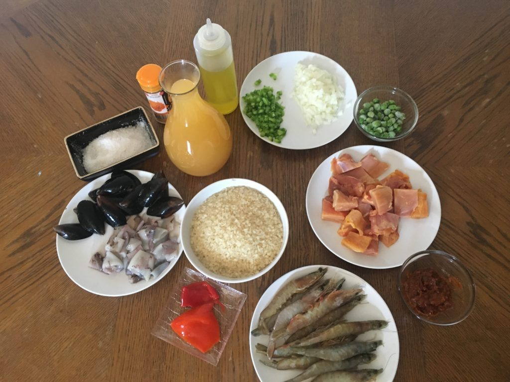 Ingredientes para Paella de pollo y marisco