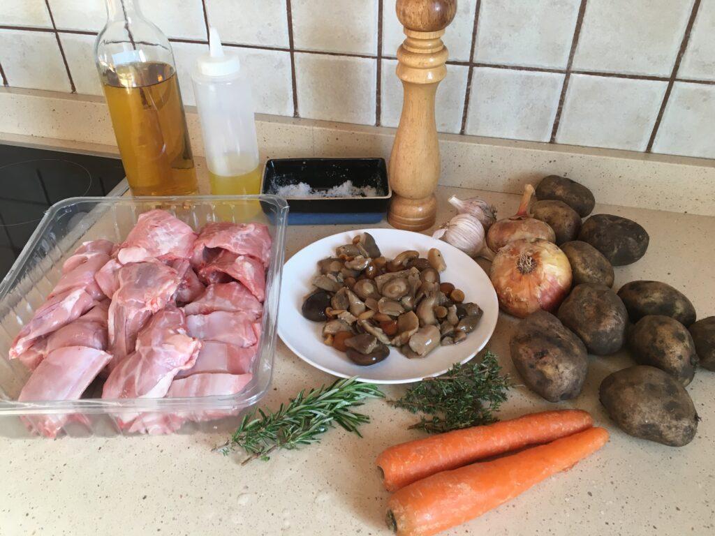Ingredientes para Conejo al horno fácil