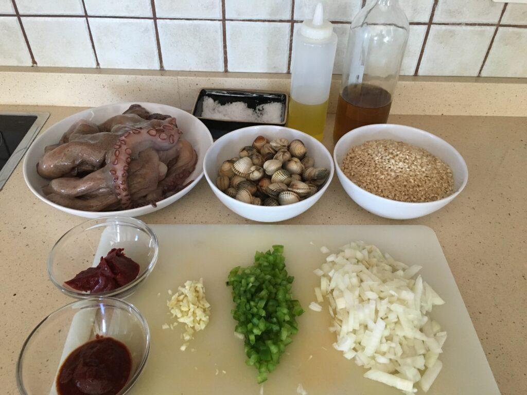 Ingredientes para Arroz integral meloso con pulpo y berberechos frescos