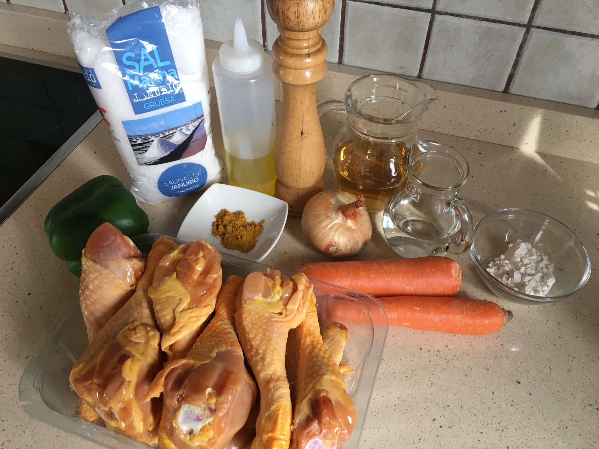 Ingredientes para Muslitos de pollo de corral al curry