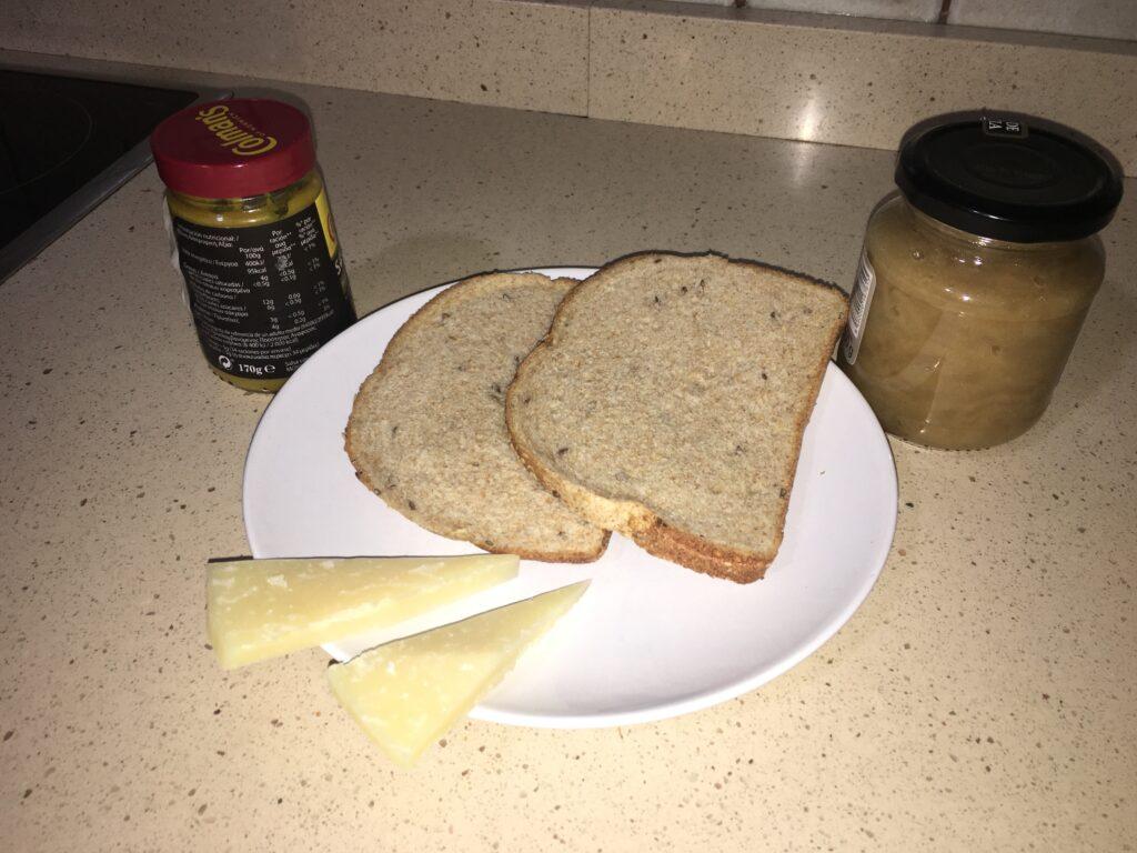 Ingredientes para Sándwich de queso con mostaza
