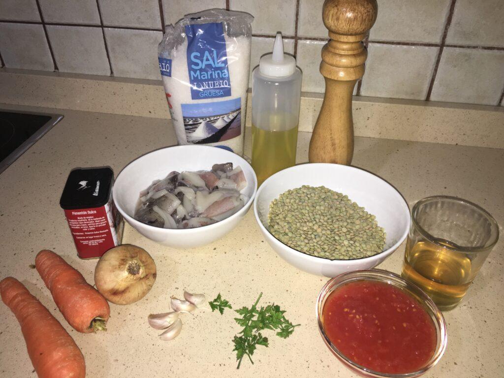 Ingredientes para Lentejas con calamares