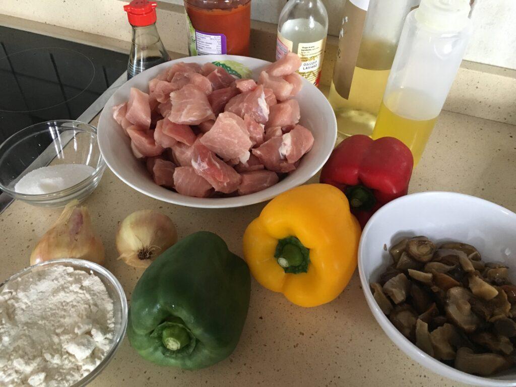 Ingredientes para Carne y verduras con vinagre de arroz