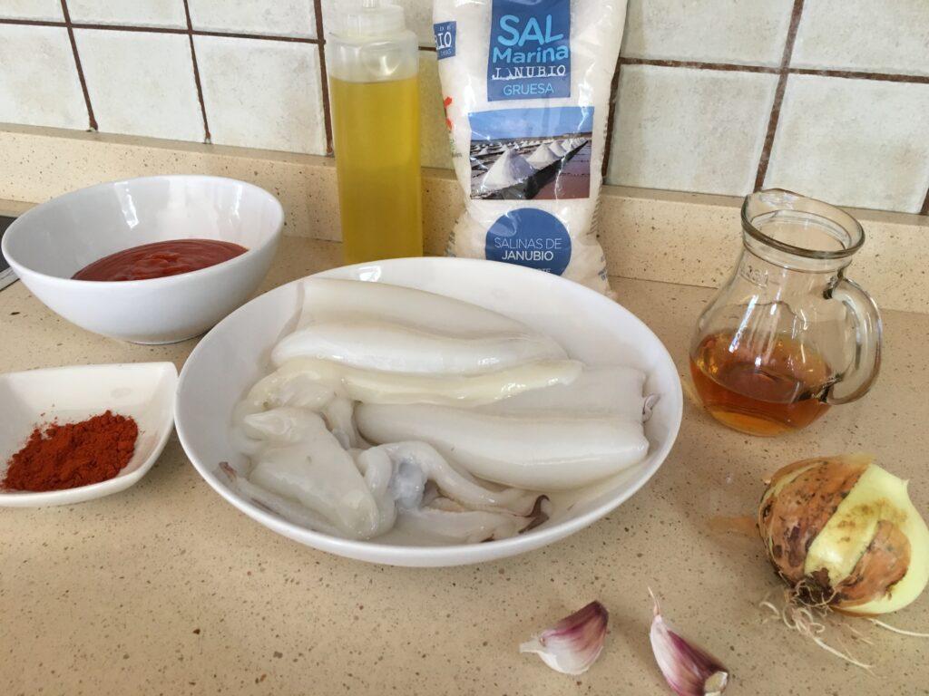 Ingredientes para Sepia en salsa de tomate