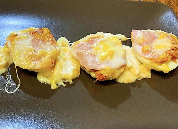 Huevos gratinados con atún y jamón