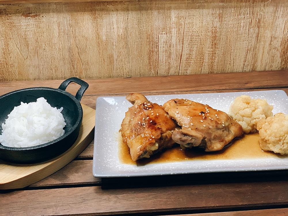 Pollo Teriyaki, coliflor y arroz Jazmín