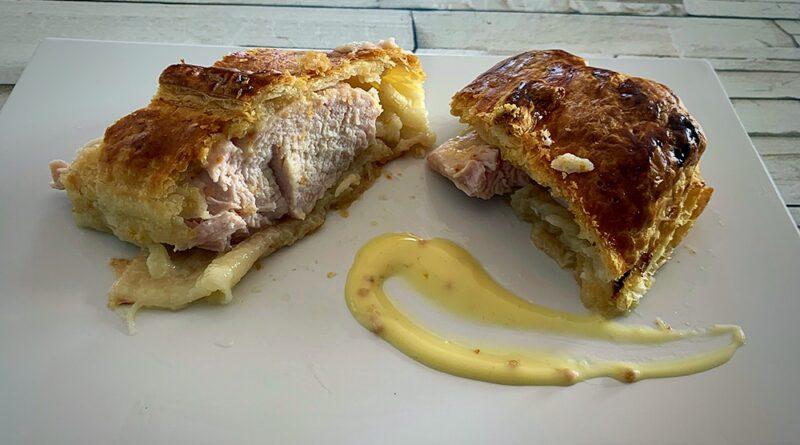 Pavo con hojaldre a la mostaza y miel