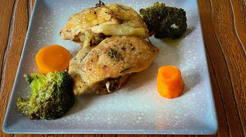 Pollo con brócoli al horno